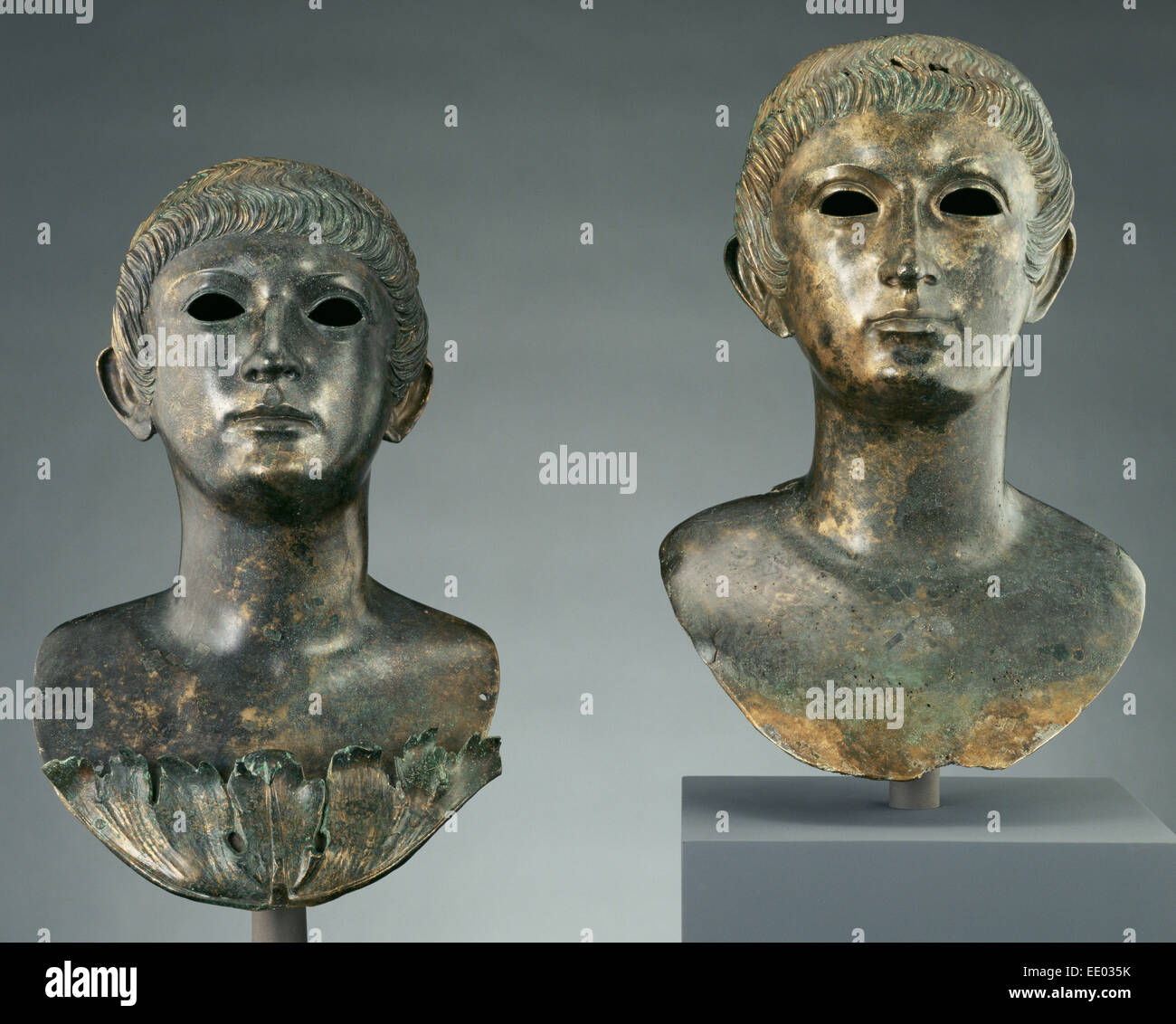 Pair of Portrait Busts of Youths and Two Marble Eyes; Unknown; Gaul, Europe; 60 - 70; Bronze and marble - Stock Image