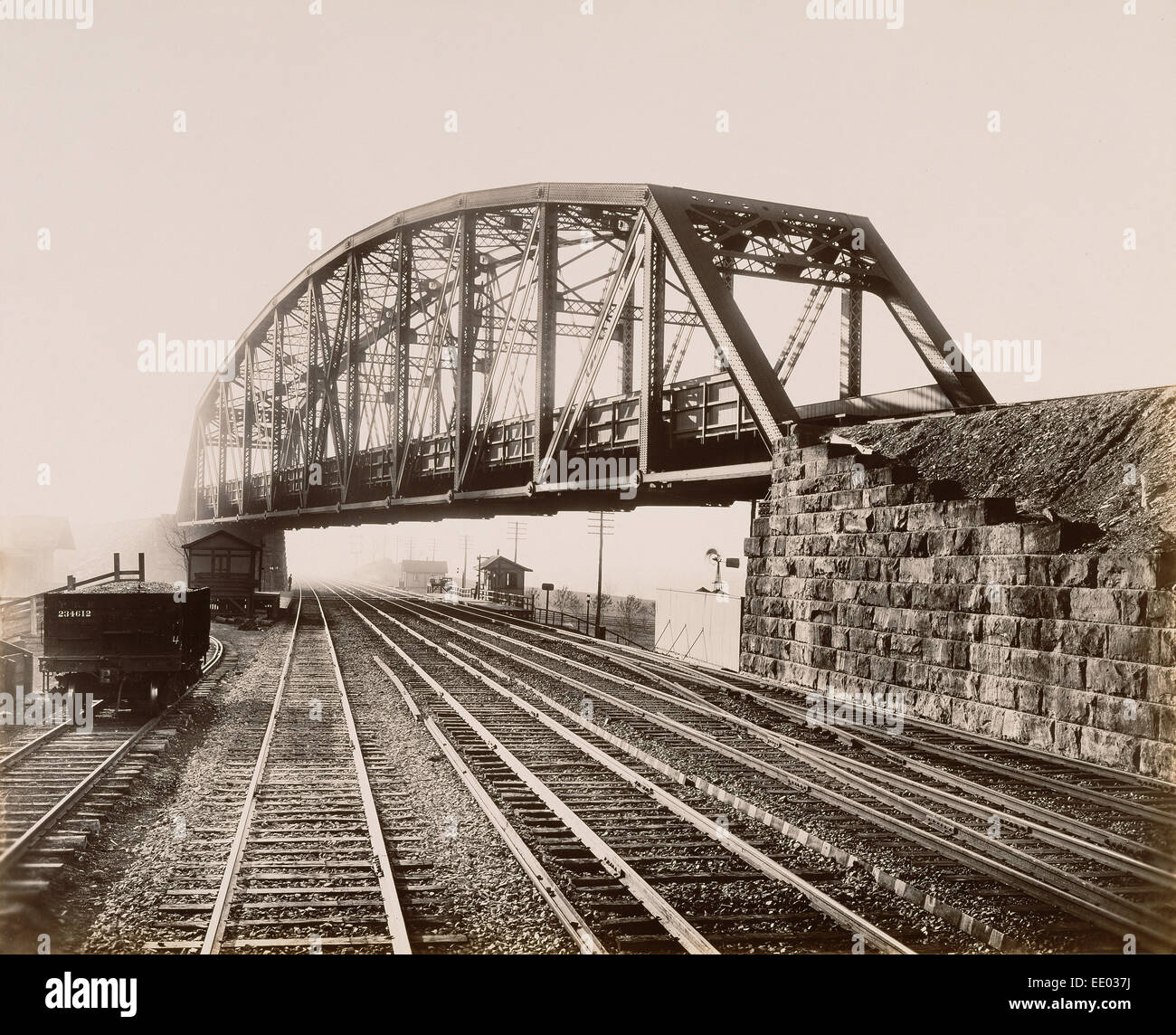 Low grade Crossing at Whitford.; William H. Rau, American, 1855 - 1920; Whitford, Pennsylvania, United States, North - Stock Image