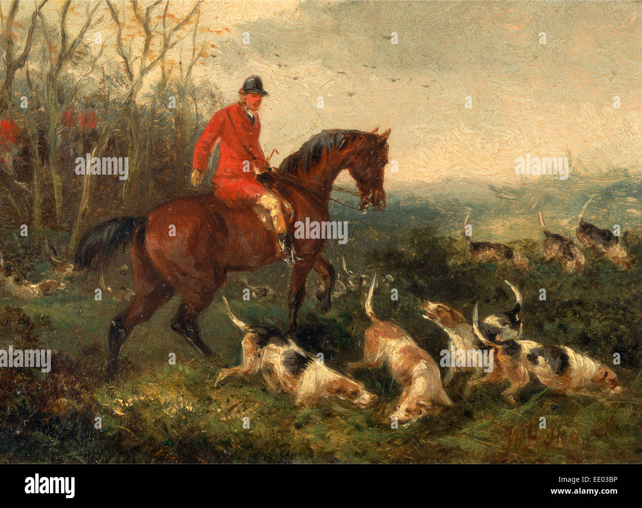 Foxhunting: At Cover Signed and dated in brown paint, lower right: 'WJ Shayer | 6[?]', William J. Shayer, - Stock Image