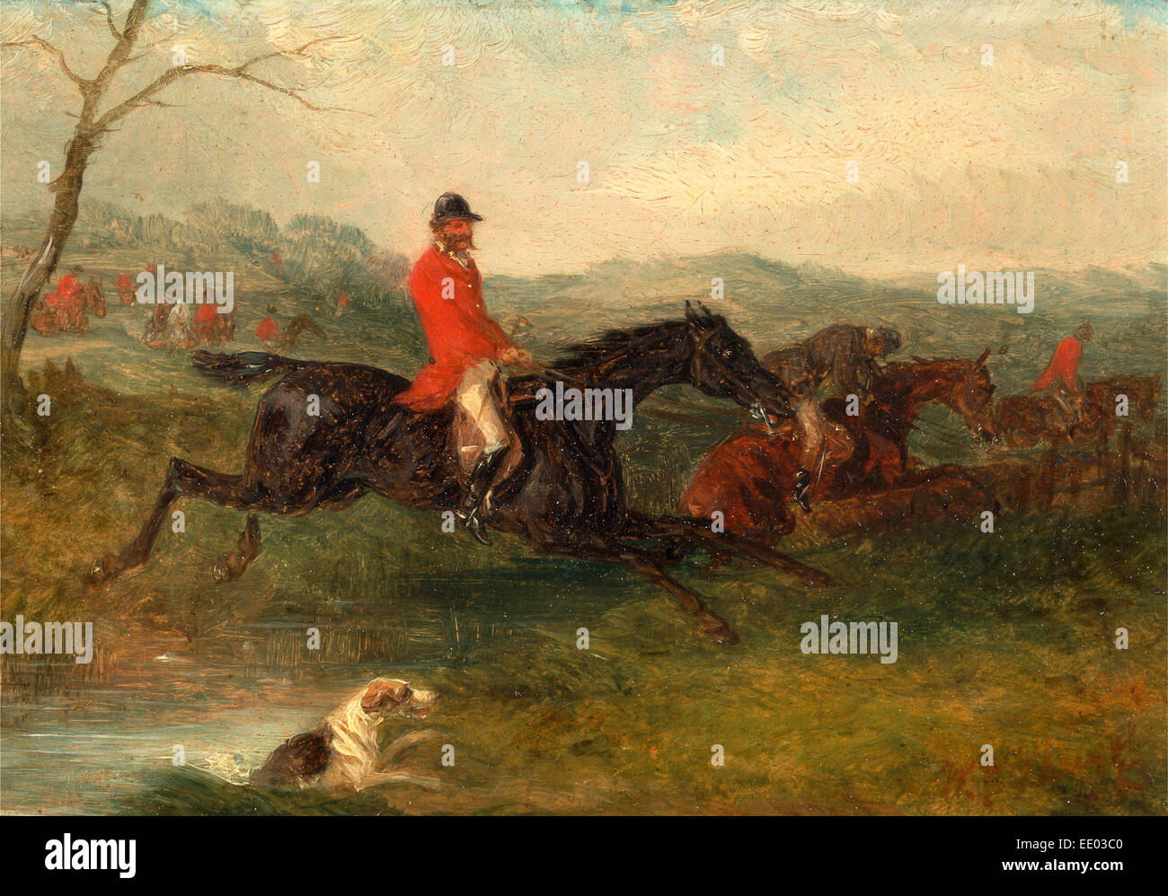 Foxhunting: Clearing a Brook Signed and dated in red paint, lower right: 'WJ Shayer | 63', William J. Shayer, - Stock Image