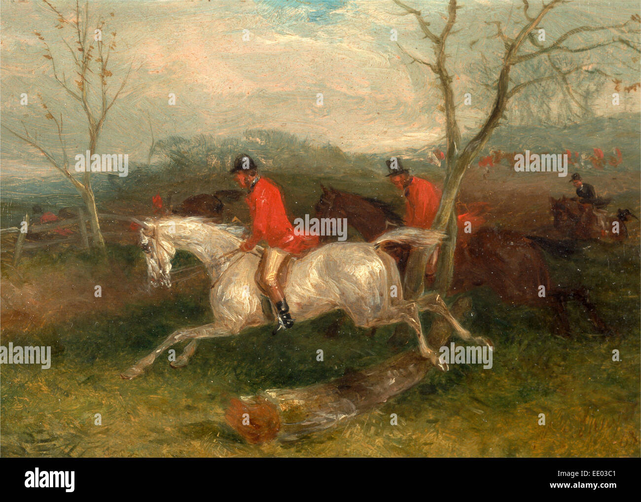 Foxhunting: Coming to a Fence (Full Cry) Signed and dated in brown paint, lower right: 'WJ Shayer | 63.', - Stock Image