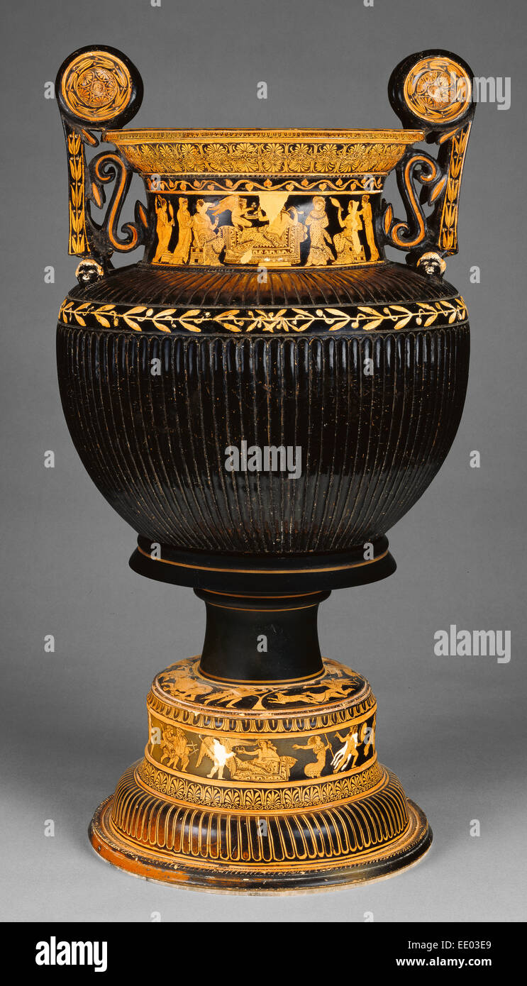 Attic Red-Figure Dinoid Volute Krater and Stand; Meleager Painter, Greek (Attic), active 420 - 380 B.C.; Athens, - Stock Image