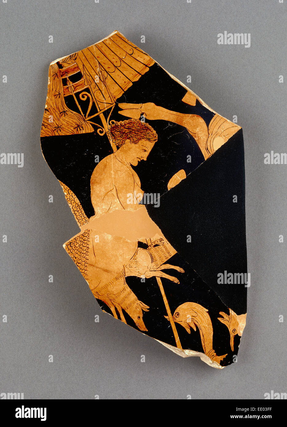 Fragment of an Apulian Red-Figure Bell Krater; Black Fury Group, Greek (Apulian), active early 300s B.C.; South - Stock Image