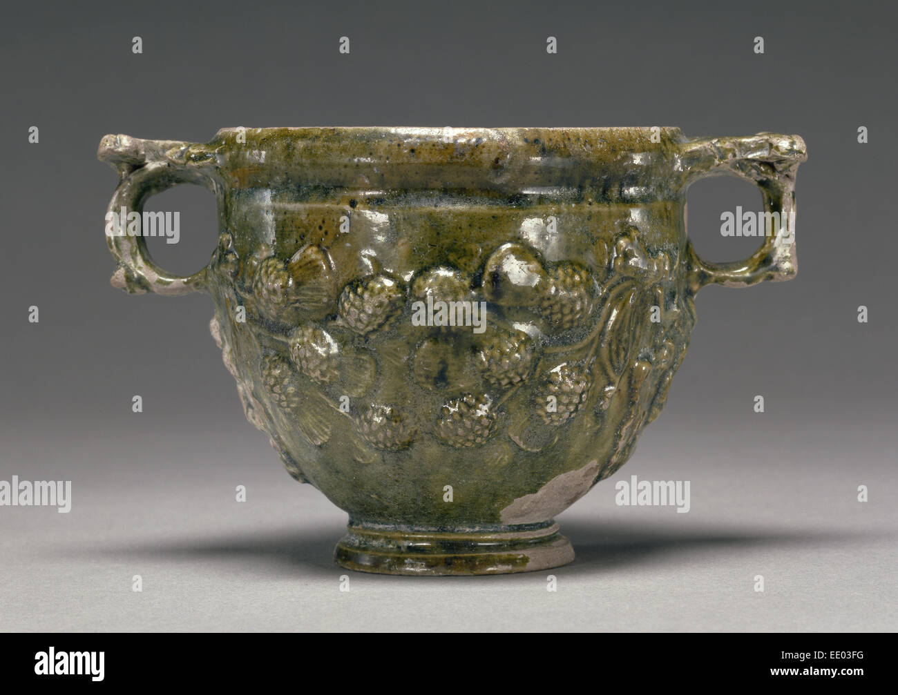 Lead-Glazed Skyphos; Unknown; Asia Minor; 50 B.C. - A.D. 50; Terracotta - Stock Image