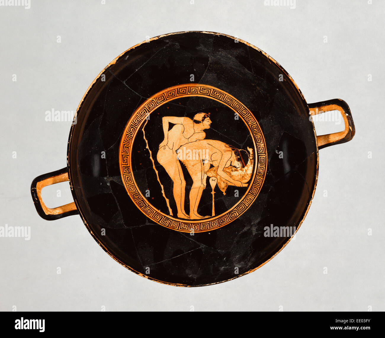 Attic Red-Figure Cup; Foundry Painter, Greek (Attic), active 500 - 470 B.C.; Athens, Greece, Europe; about 470 B.C.; Stock Photo