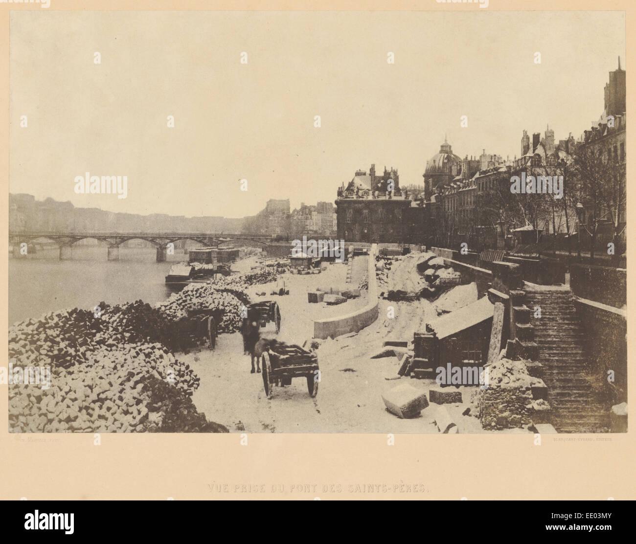 Vue prise du Pont des Saints-Pères; Charles Marville, French, 1813 - 1879, Louis Désiré Blanquart - Stock Image