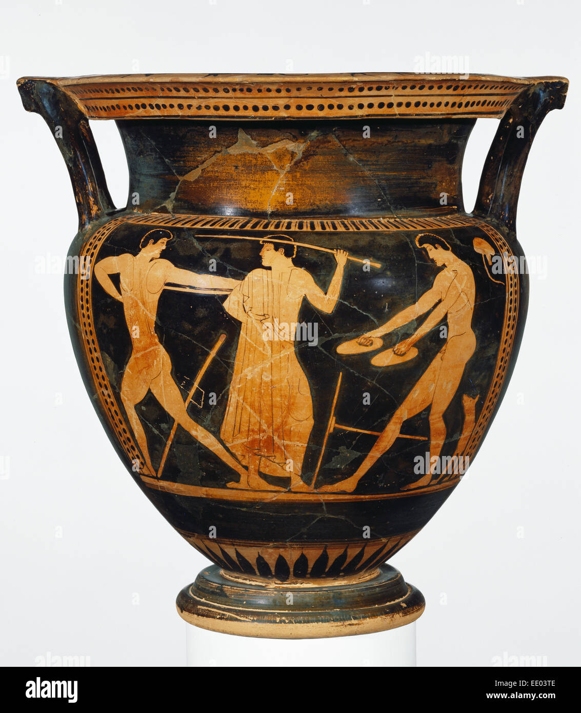 Attic Red-Figure Column Krater; Attributed to Myson, Greek (Attic), active 500 - 475 B.C.; Athens, Greece, Europe - Stock Image