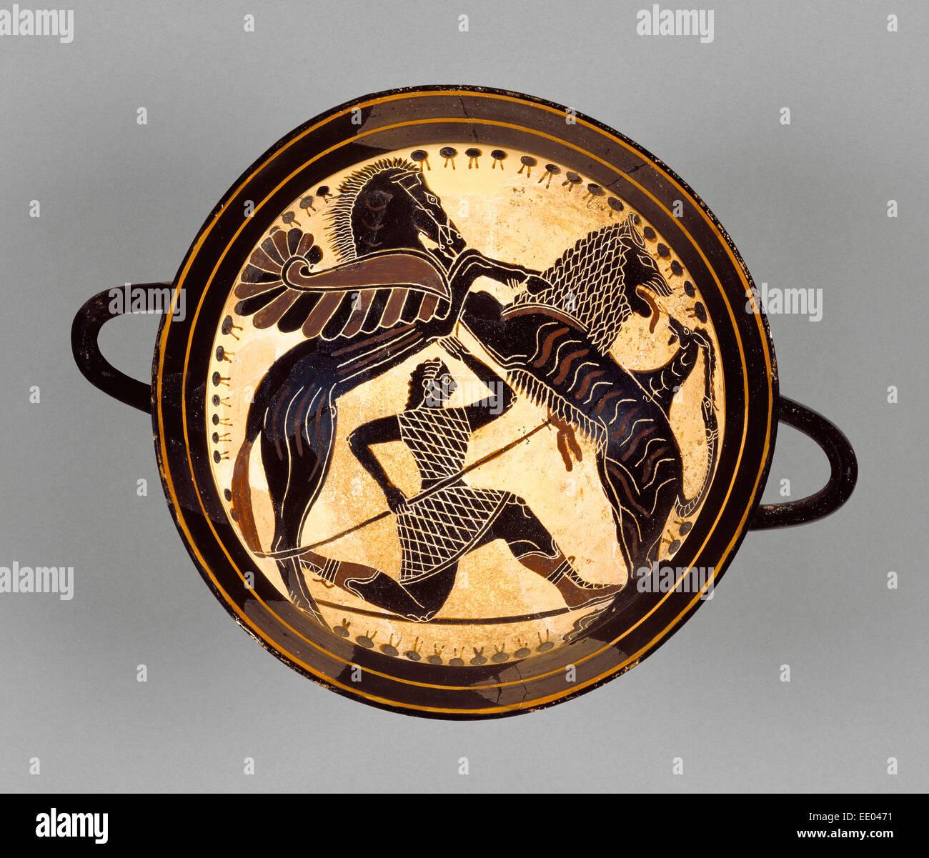 Lakonian Black-Figure Kylix,  detached fragments; Attributed to Boreads Painter, Greek (Lakonian), active 575 - - Stock Image