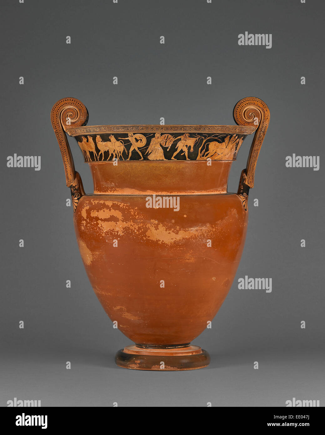 Attic Red-Figure Volute Krater; Attributed to Kleophrades Painter and a pupil, Greek (Attic), active 505 - 475 B.C.; - Stock Image