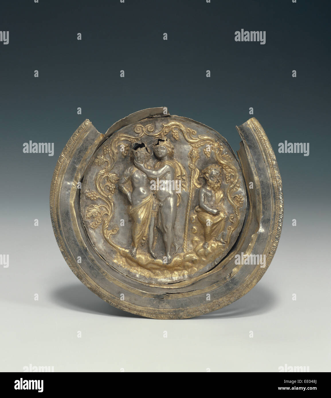 Bowl with a Medallion Depicting Dionysos and Ariadne; Unknown; Asia Minor; late 2nd century B.C.; Silver with gilding - Stock Image