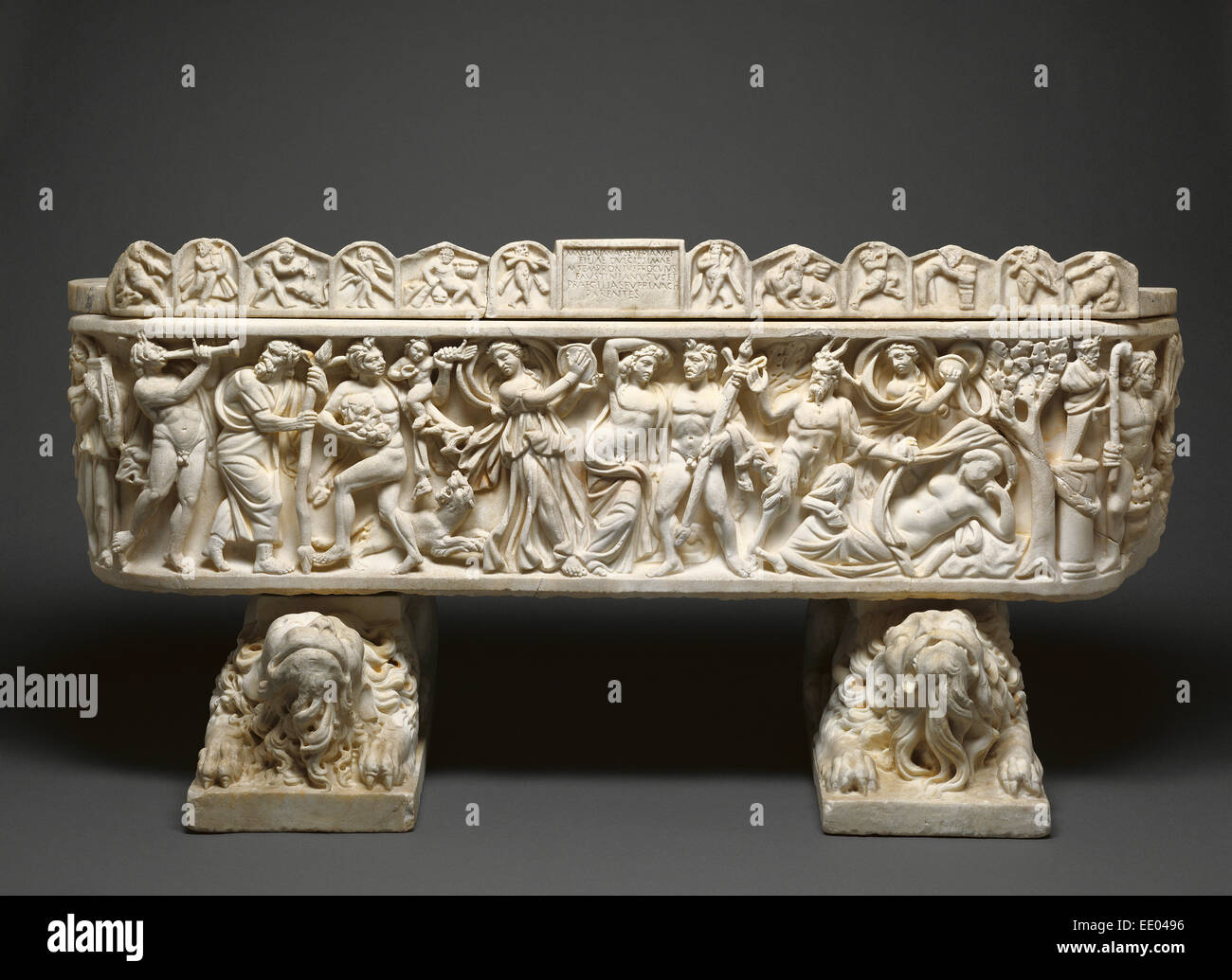 Sarcophagus and Lid,  Crouching Lion Supports; Unknown; 210 - 220; feet 19th century; Marble - Stock Image