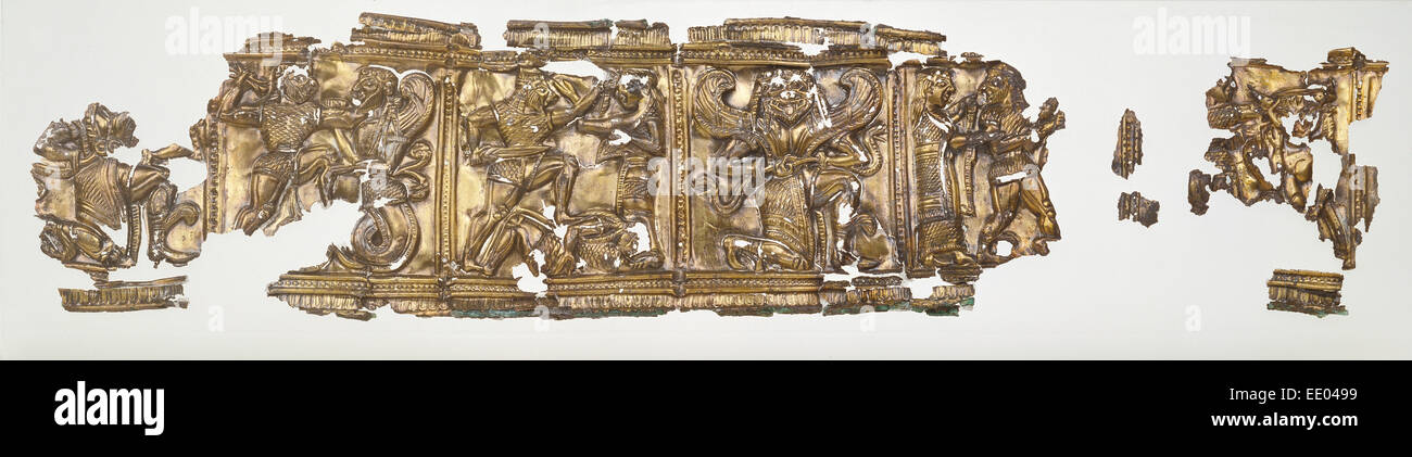 Relief fragments (44); Unknown; South Italy, Europe; 540 - 530 B.C.; Gilded silver - Stock Image