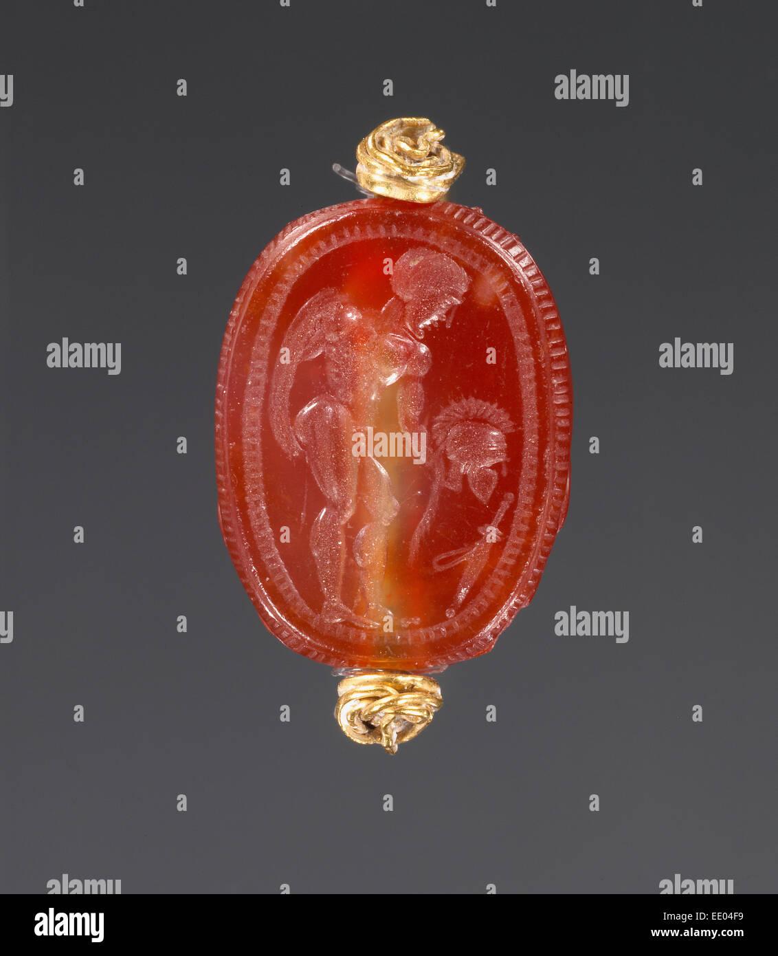 Scarab; Unknown; Etruria; second half of 5th century B.C.; Carnelian - Stock Image
