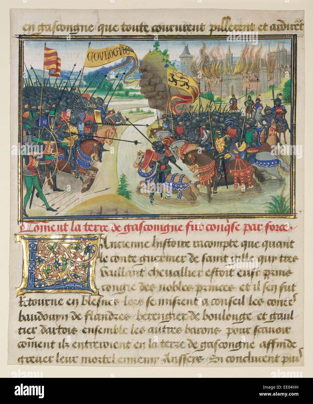 The Conquest of Gasgogne by the Armies of Luxembourg, Boulogne, and Artois; Loyset Liédet, Flemish, active - Stock Image