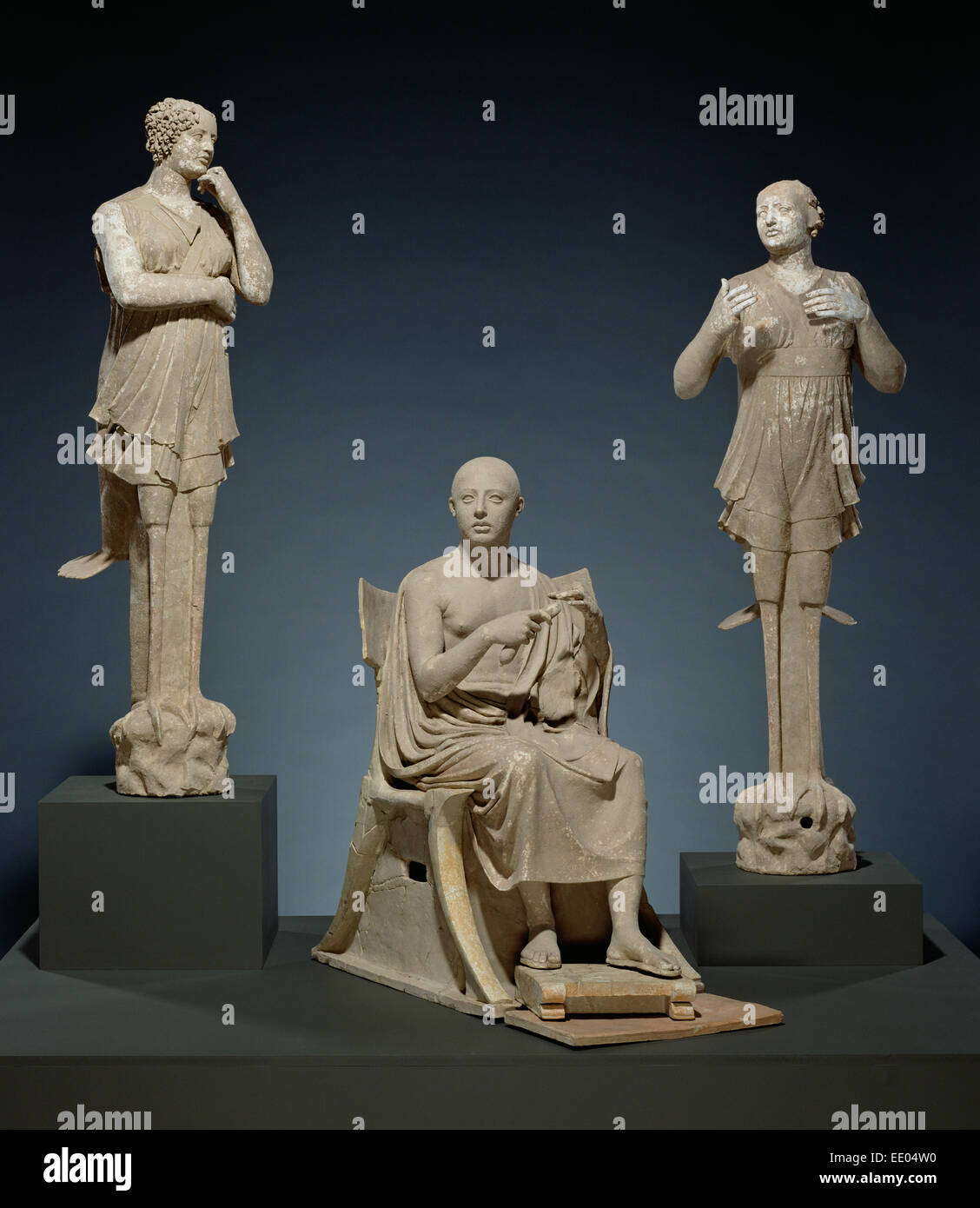 Sculptural Group of a Seated Poet and Sirens (2) with unjoined fragmentary curls (304); Unknown; Tarentum (Taras), - Stock Image