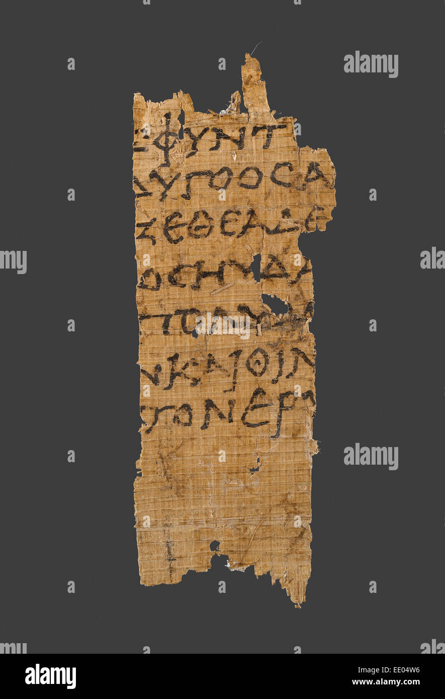 Fragment of Homer's Odyssey; Unknown; Egypt, Africa; 1st century B.C.; Papyrus - Stock Image