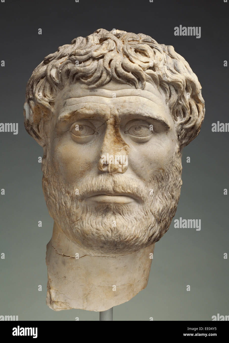 Portrait of a Bearded Man; Unknown; Italy, Europe; 140 - 160; Marble - Stock Image