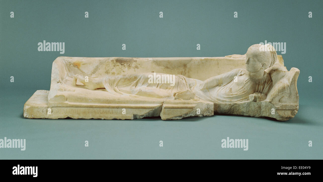 Kline Monument with a Reclining Girl; Unknown; 120 - 140; Marble - Stock Image