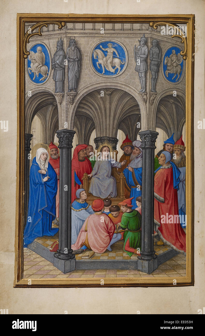 Jesus Among the Doctors; Simon Bening, Flemish, about 1483 - 1561; Bruges, Belgium, Europe; about 1525 - 1530; Tempera - Stock Image