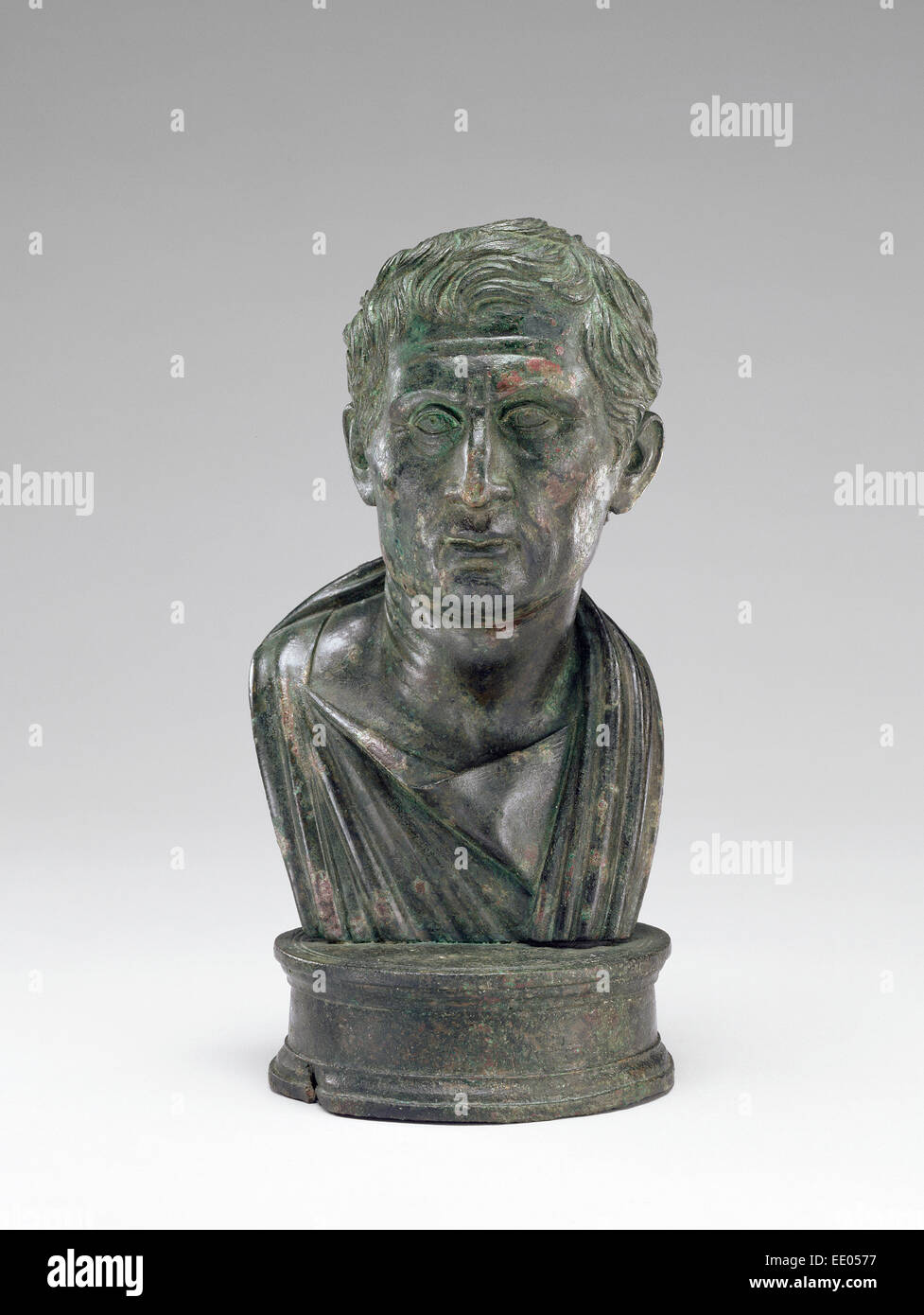 Portrait Bust of Menander; Unknown; 1 - 25; Bronze - Stock Image