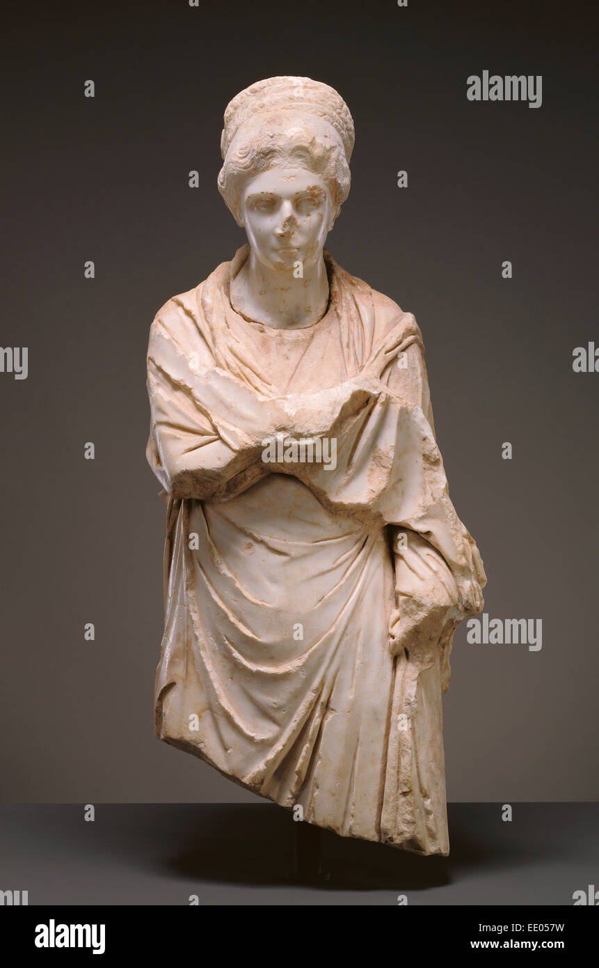 Portrait Statue of a Woman; Unknown; Possibly Cyme, Asia Minor; about 120 - 130; Marble - Stock Image