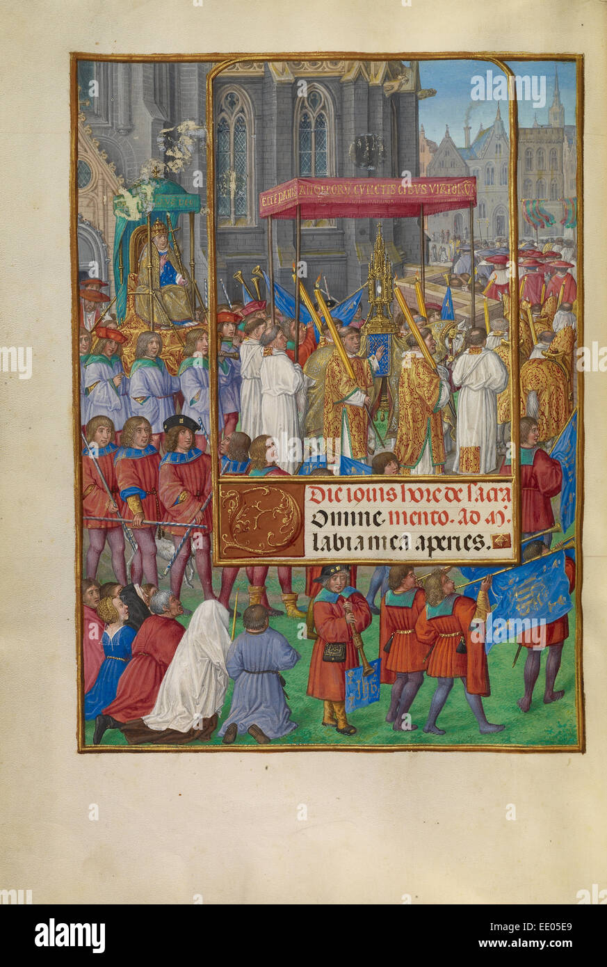 Procession for Corpus Christi; Master of James IV of Scotland, Flemish, before 1465 - about 1541; Bruges, Belgium, - Stock Image
