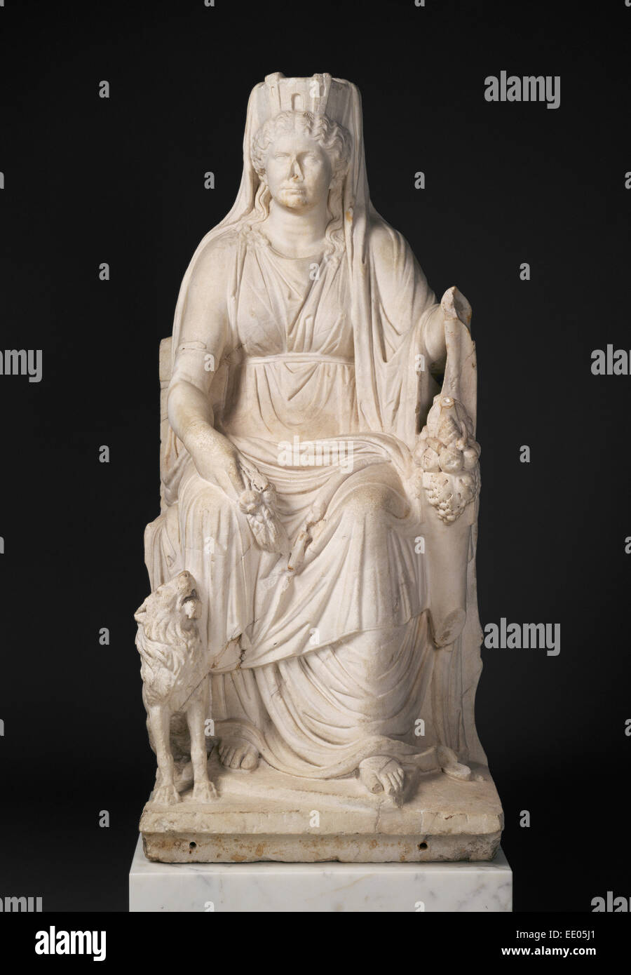 Statue of a Seated Cybele with the Portrait Head of her Priestess; Unknown; Roman Empire; about 50; Marble - Stock Image