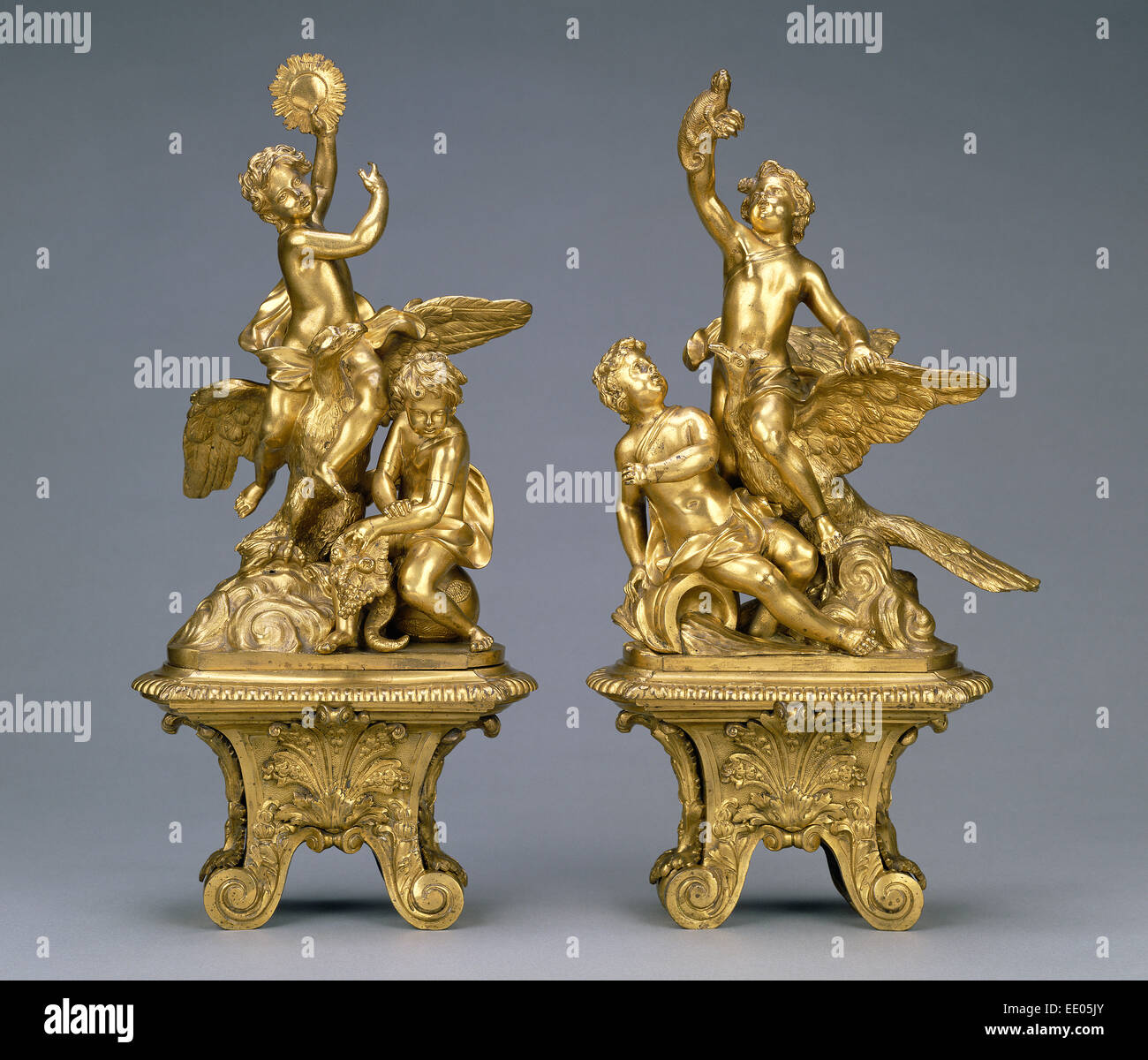 Pair of Firedogs; Unknown; 1690 - 1715; Gilt bronze - Stock Image