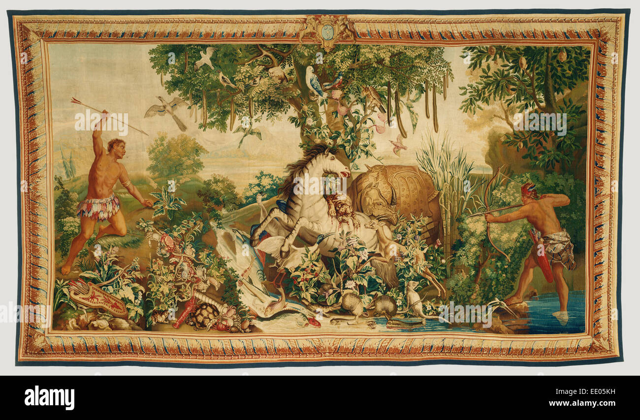 Tapestry: Le Cheval rayé from Les Anciennes Indes Series; Woven at Gobelins Manufactory, French - Stock Image