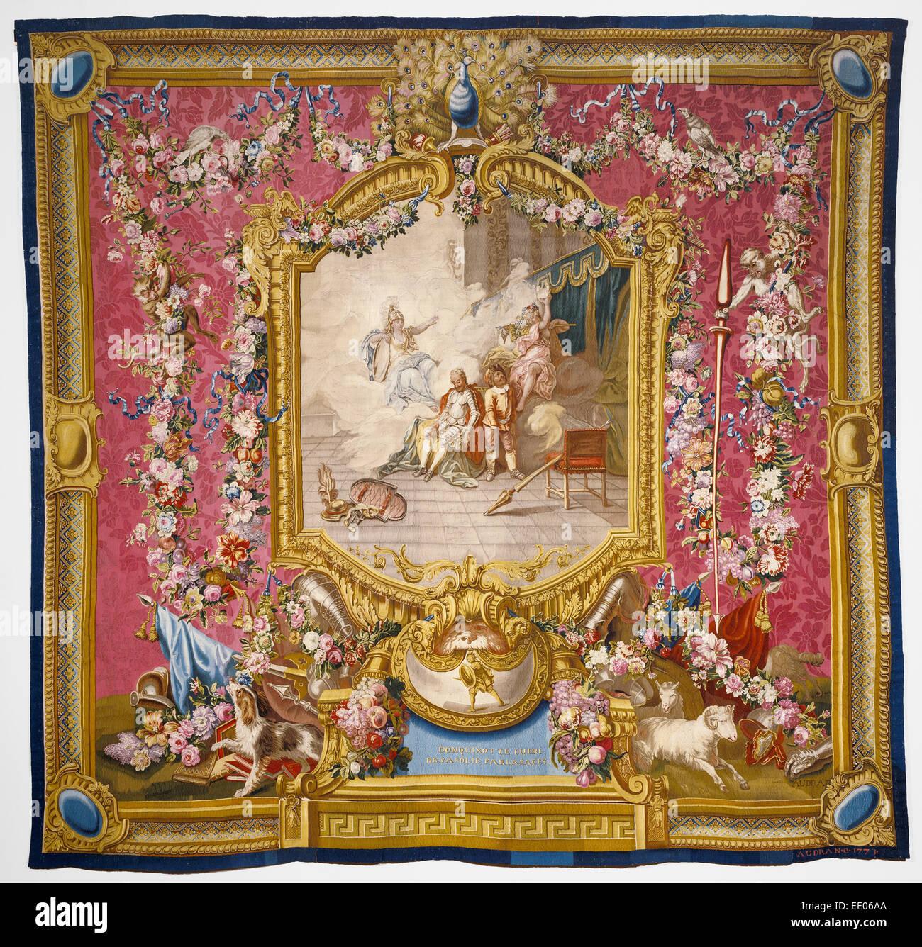Tapestry: Don Quichotte guéri de sa folie par la sagesse, from L'Histoire de don Quichotte Series - Stock Image