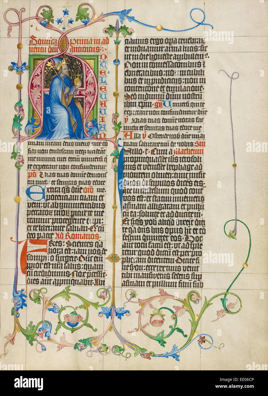 Initial A: King David Enthroned; Master Michael, Austrian, active about 1420 until the mid-15th century; Vienna, - Stock Image