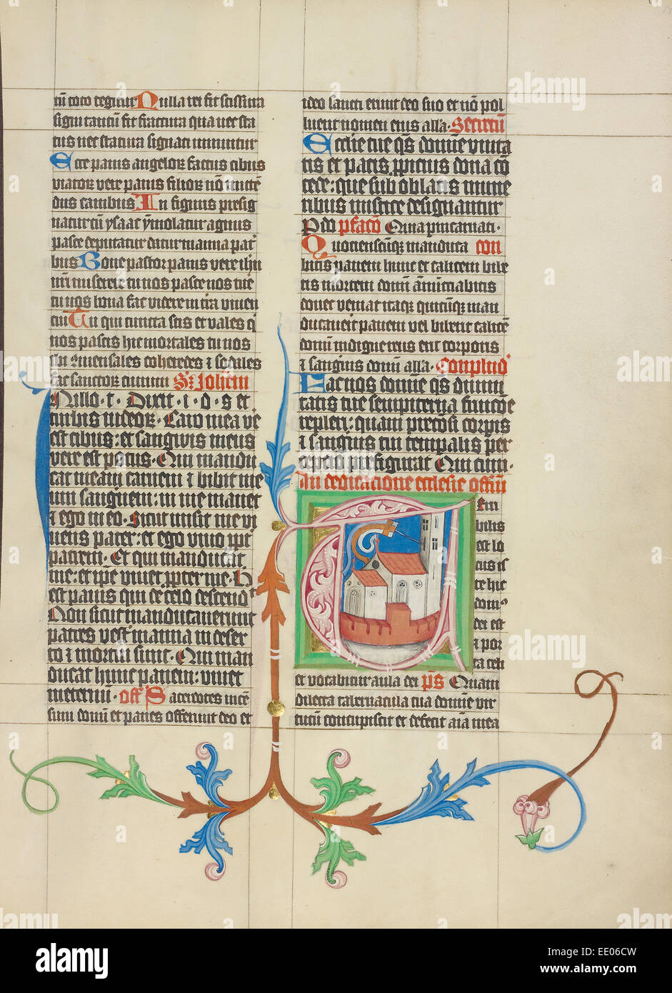 Initial T: A Church; Master Michael, Austrian, active about 1420 until the mid-15th century; Vienna, Austria, Europe - Stock Image