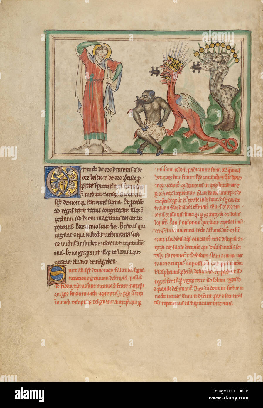 Unclean Spirits Issuing from the Mouths of the Dragon, the Beast, and the False Prophet; Unknown; London (probably), - Stock Image