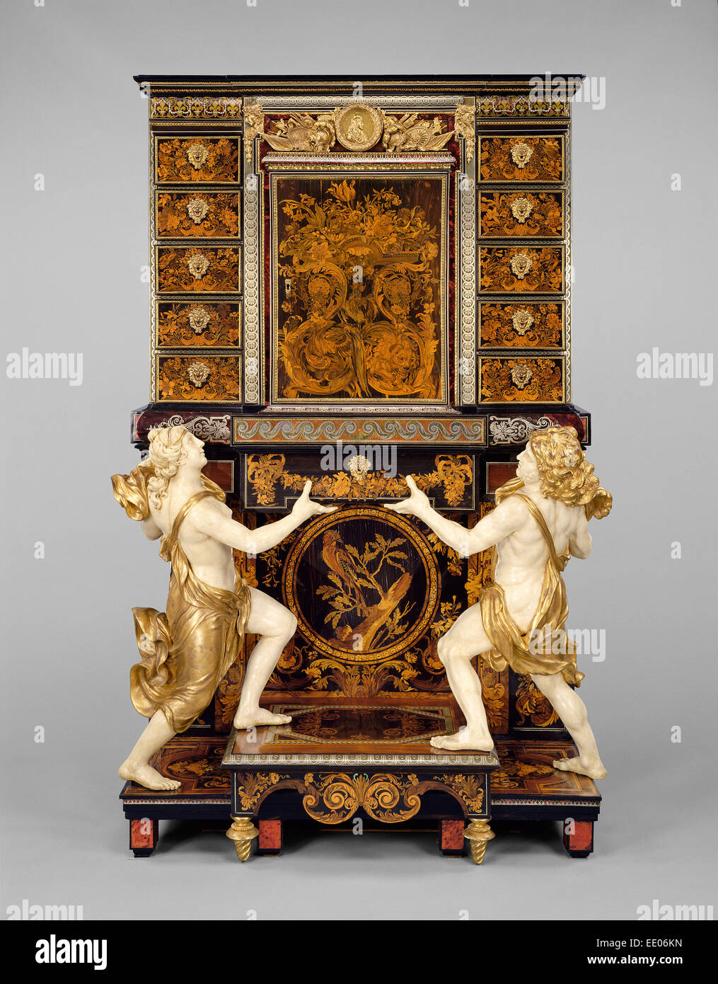 Cabinet on Stand; Attributed to André-Charles Boulle, French, 1642 - 1732, master before 1666, and medallions - Stock Image