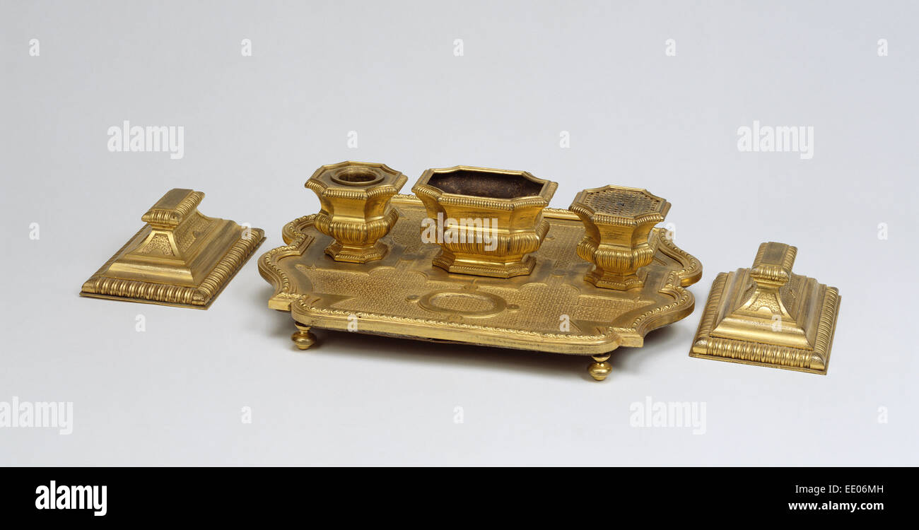 Inkstand and Paperweights; Unknown; about 1715; Gilt bronze - Stock Image