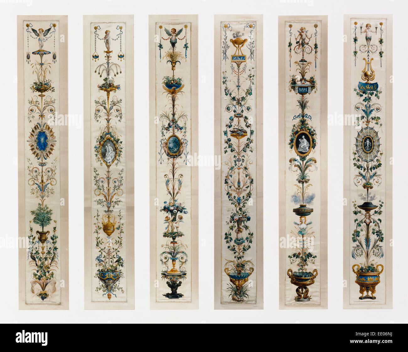 Six Painted Panels; Unknown; Paris, France, Europe; about 1780; Gouache on silk with gold paint Stock Photo