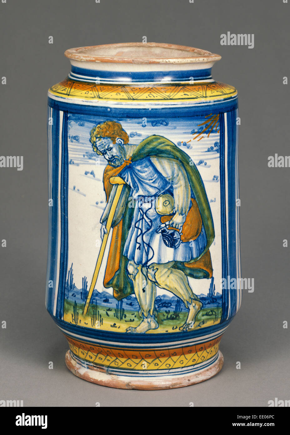 Jar with a Lame Peasant; Unknown; Faenza, Italy, Emilia-Romagna, Europe; early 16th century; Tin-glazed earthenware - Stock Image
