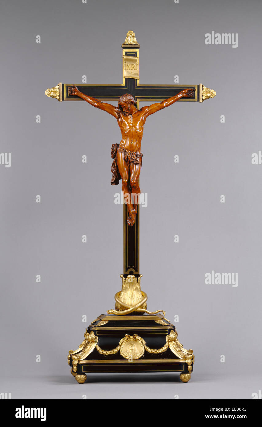Corpus and Cross (Crucifix); Unknown; France, Europe; Corpus 1680 - 1720; Cross 1765-1770; Boxwood figure on a cross - Stock Image
