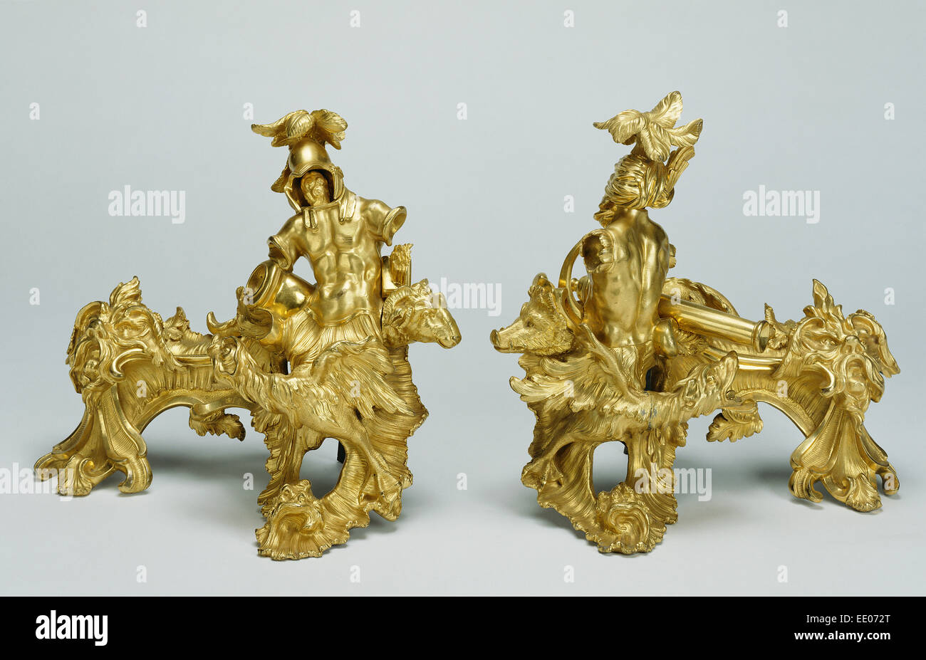 Pair of Firedogs; Unknown; about 1735; Gilt bronze - Stock Image