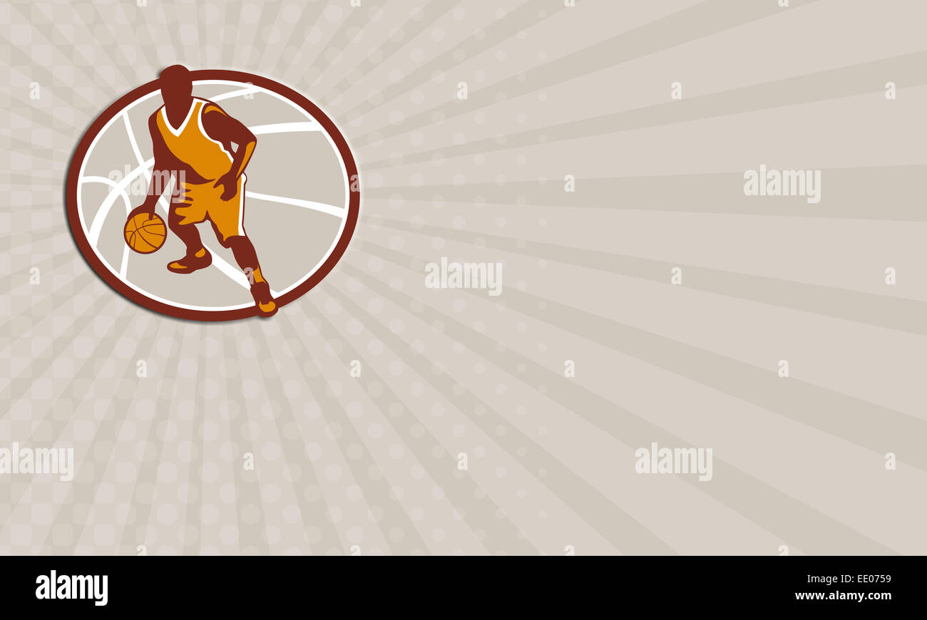 Business card showing illustration of a basketball player dribbling ...