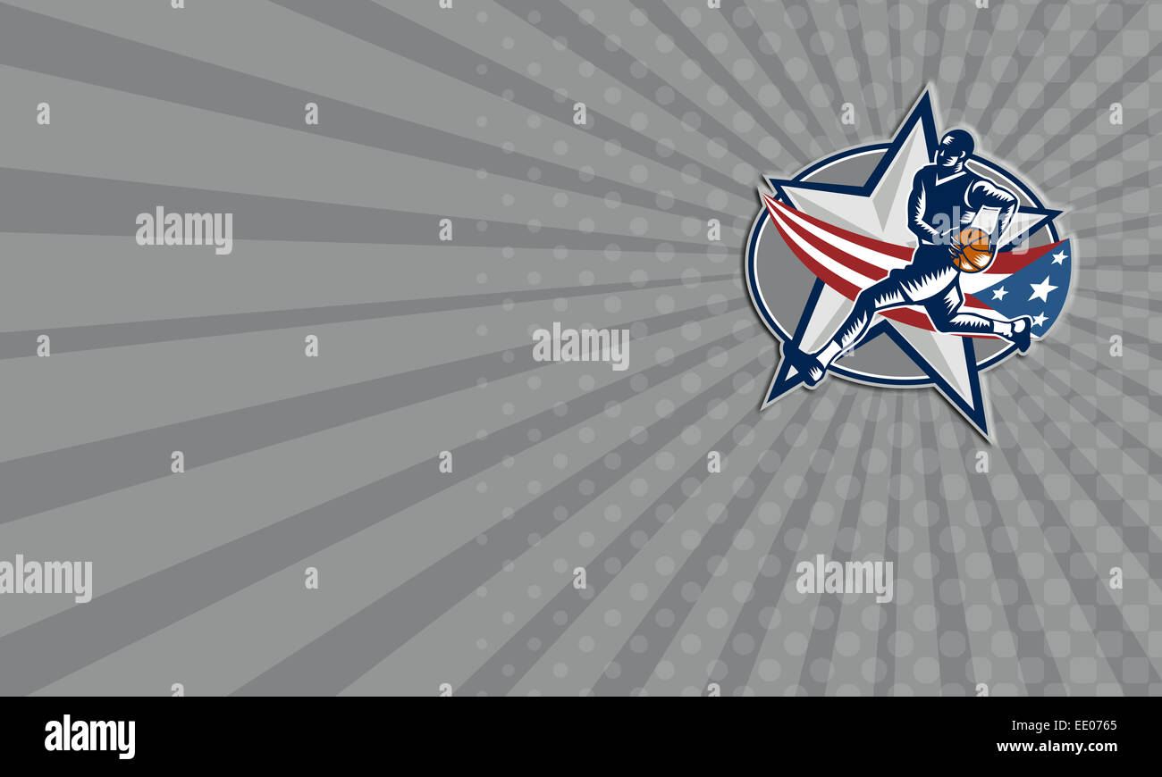 Business card showing illustration of a basketball player with ball business card showing illustration of a basketball player with ball on a fast break about to make a lay up or dunk with star and american stars and stripes reheart