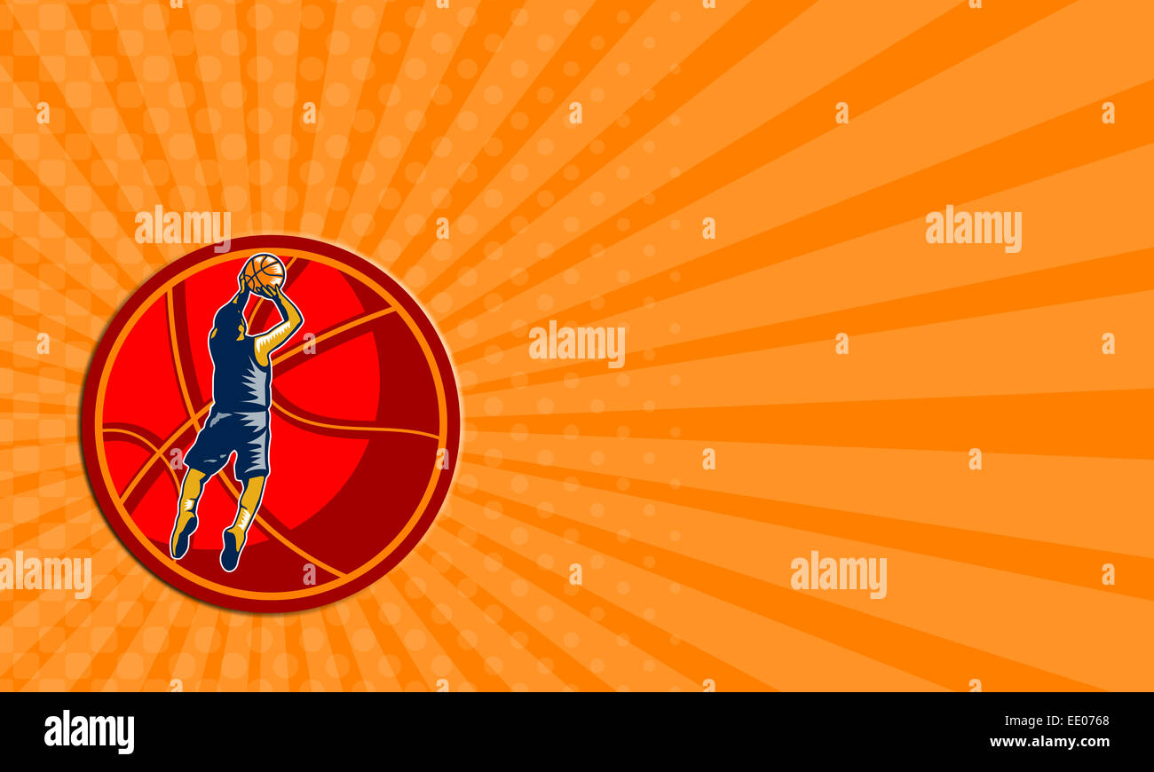 Business card showing illustration of a basketball player jump shot jumper shooting jumping set inside giant ball - Stock Image