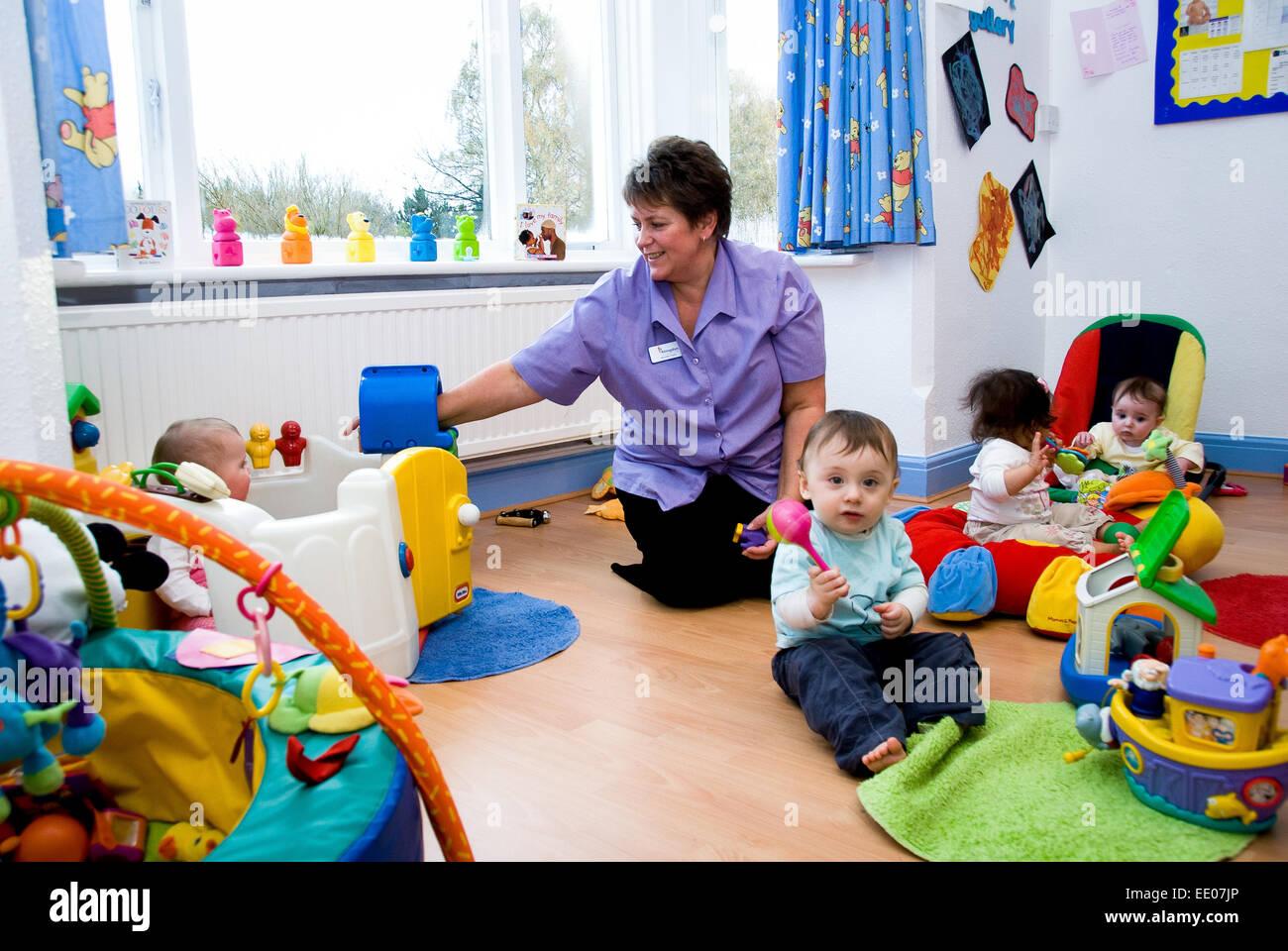 Children and staff at Abingdon Kindergarten, in Abingdon ,Oxfordshire,UK - Stock Image