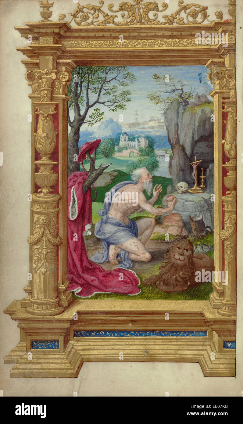 Saint Jerome; Master of the Getty Epistles, French, active about 1528 - about 1549; Paris, France, Europe; about - Stock Image