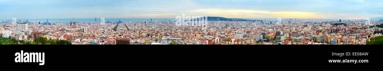 Wide panoramic view of Barcelona at beautiful sunset. Spain - Stock Image