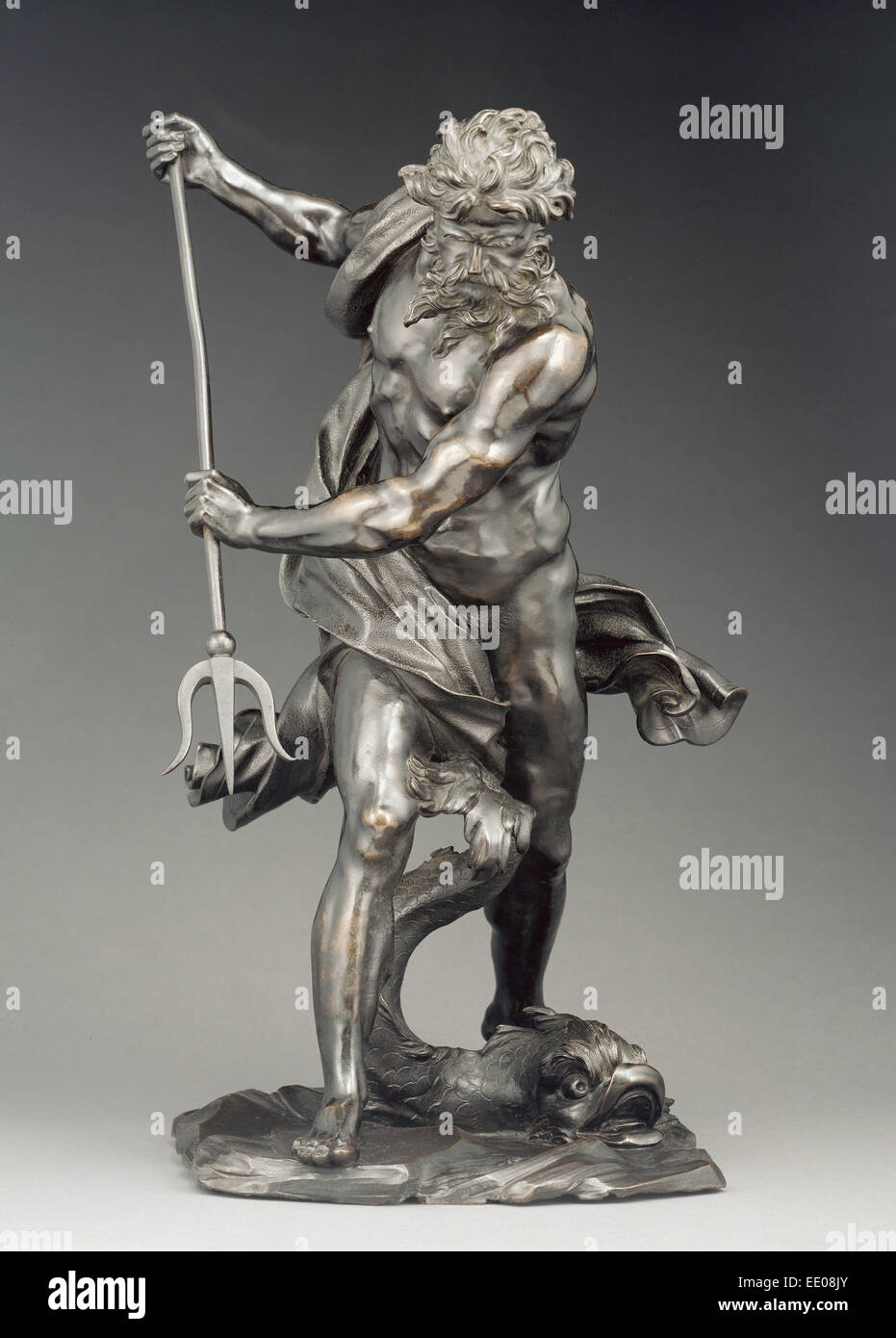 Neptune with Dolphin; After Gian Lorenzo Bernini, Italian, 1598 - 1680; probably 17th century (after 1623); Bronze - Stock Image