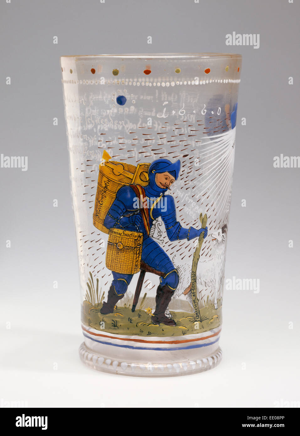 Satirical Beaker; Unknown; Germany, Northern Germany, Europe; 1660; Free-blown colorless (slightly pinkish-gray) - Stock Image