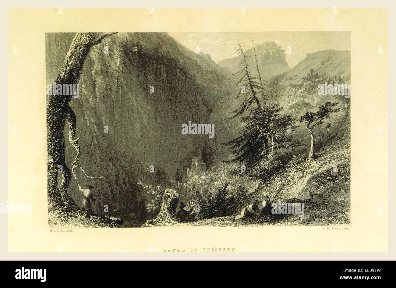 Baths of Pfeffers, Switzerland. Illustrated in a series of views taken expressly for this work by W. H. Bartlett - Stock Image