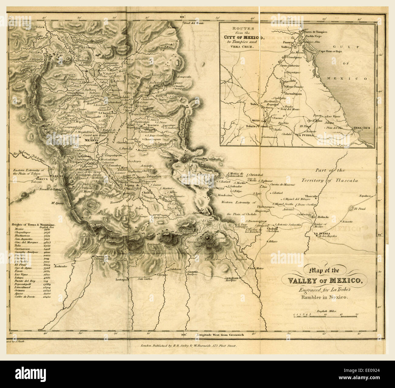 Map of the valley of Mexico, 1834, 19th century engraving - Stock Image