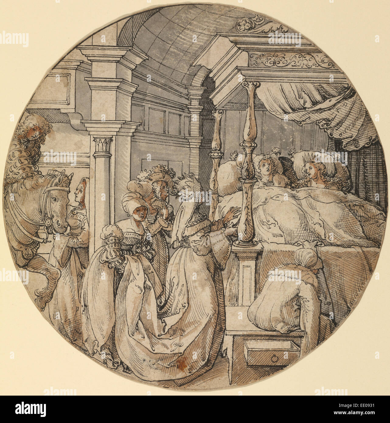 Bridal Scene; Jörg Breu the Elder, German, about 1475/1476 - 1537; Germany, Europe; about 1520 - 1525; Pen - Stock Image